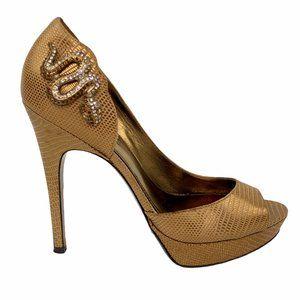 Via Spiga Gold Snake Embellished Leather Pump 8
